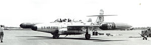 445th Flight Test Squadron - 445th FIS Northrop F-89H Scorpion 54-0402 at Wurtsmith AFB, MI