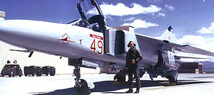 "4477th Test and Evaluation Squadron - ""Red 49"" MiG-23 on the Tonopah ramp, 1988"