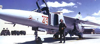 """4477th Test and Evaluation Squadron - """"Red 49"""" MiG-23 on the Tonopah ramp, 1988"""