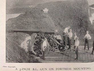 BL 5-inch gun Mk I – V - Gun on Fortress mount in UK, c1900