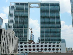500 Brickell - 500 Brickell Towers from the north showing circular skywalk