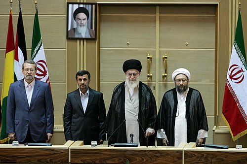Khamenei with Mahmoud Ahmadinejad, Ali Larijani and Sadeq Larijani in 2011 5th International Conference in Support of the Palestinian Intifada, Tehran (1).jpg