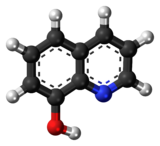 Ball-and-stick model of the 8-hydroxyquinoline molecule