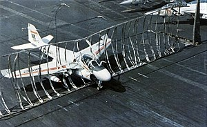 A-6E VA-196 making barrier landing on USS Enterprise (CVN-65) 1978.jpg