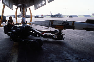 AGM-69 SRAM - An AGM-69A SRAM being loaded into B-1B bomb bay in 1987.