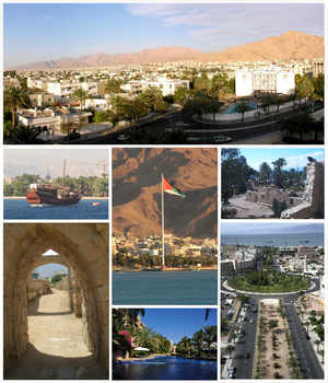 Clockwise from the left top: Aqaba's skyline, Aqaba Fort and Aqaba Fields, Al-Hammamat Al-Tunisyya Street in Down Town, Resort in Aqaba, Ayla old City, Aqaba Port, Aqaba Flagpole.