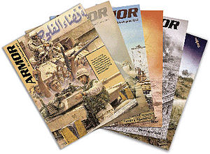English: Covers of backissues of ARMOR magazine
