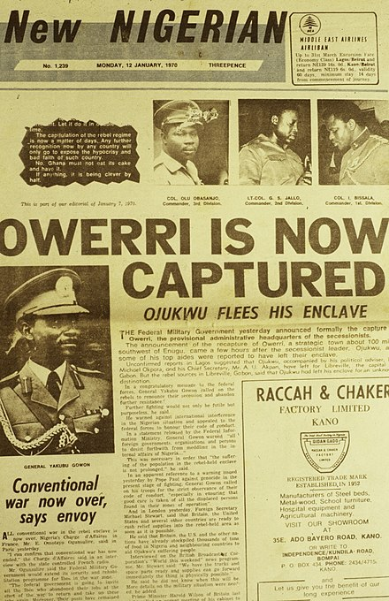 "New Nigerian newspaper page 7 January 1970. End of the Nigerian civil war with Biafra. ""Owerri is now captured. Ojukwu flees his enclave."" Photographs of the military Obasanjo, Jallo, Bissalo, Gowon. ASC Leiden - Rietveld Collection - Nigeria 1970 - 1973 - 01 - 093 New Nigerian newspaper page 7 January 1970. End of the Nigerian civil war with Biafra.jpg"