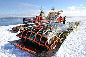 Fuel bladder - Liquid transport fuel bladders await filling in Antarctica.