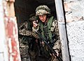 A Ukrainian marine radios back to base during exercise Rapid Trident 2014 in Yavoriv, Ukraine, Sept 140923-A-DO651-004.jpg