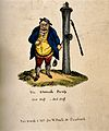 A disgruntled portly man standing next to a town water pump Wellcome V0011221.jpg