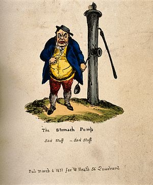 William Heath (artist) - Image: A disgruntled portly man standing next to a town water pump Wellcome V0011221