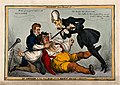 A large John Bull being held down and force-fed by Peel and Wellcome V0011342.jpg