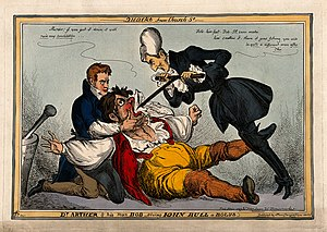 William Heath (artist) - Image: A large John Bull being held down and force fed by Peel and Wellcome V0011342
