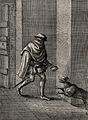 A man covering his face with a cloak enters a house by the d Wellcome V0022996.jpg