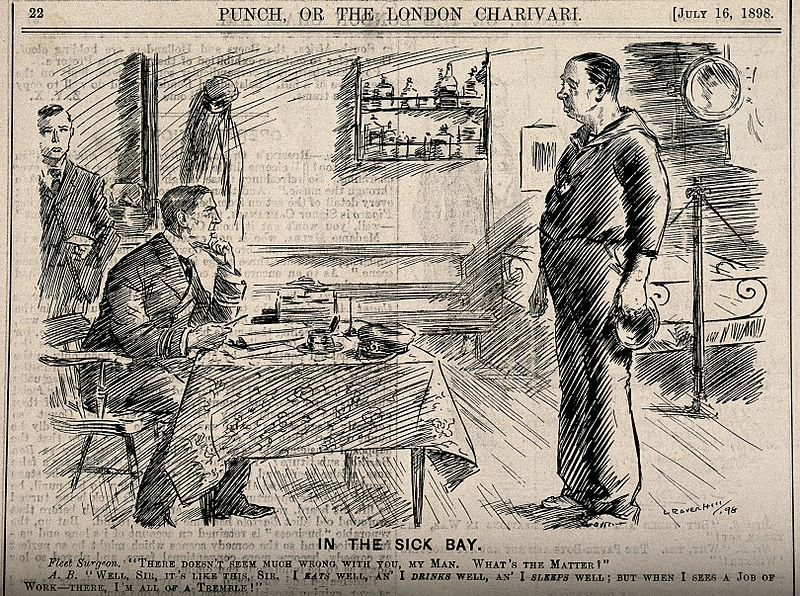File:A seaman telling the ship's doctor that hard work is bad for Wellcome V0011442.jpg