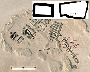 Iry-Hor - Iry-Hor's tomb at the Umm el-Qa'ab comprises two separate chambers B1 and B2, shown in inset. Iry-Hor's tomb is located close to Ka's (B7, B8, B9) and Narmer's tombs (B17, B18).