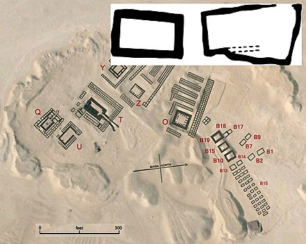 Iry-Hor's tomb at the Umm el-Qa'ab comprises two separate chambers B1 and B2, shown in inset. Iry-Hor's tomb is located close to Ka's (B7, B8, B9) and Narmer's tombs (B17, B18). AbydosMat Iry-Hor.jpg