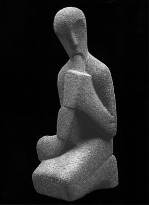 "Achiam - ""Horn player"" - Basalt, Grand-Prix des Beaux-Arts de la Ville de Paris 1965."