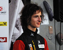 Photo de Adam Ondra lors de la coupe du monde d'escalade 2009 à Imst.