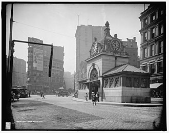 Adams Square (Boston) - Adams Square c. 1905, looking south. The rear of the Ames Building is visible on the right