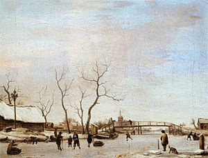 1668 in art - van de Velde – Frozen Canal with Skaters and Hockey Players, Musée du Louvre