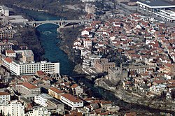 Aerial shot of the rebuilt bridge in Mostar (1997).JPEG