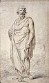 Aesculapius holding a staff encircled by a snake. Drawing by Wellcome L0026314.jpg