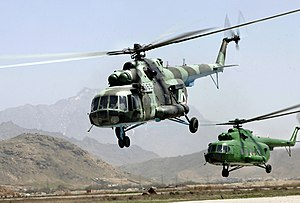 Afghan National Air Corps MI-17 helicopters ta...