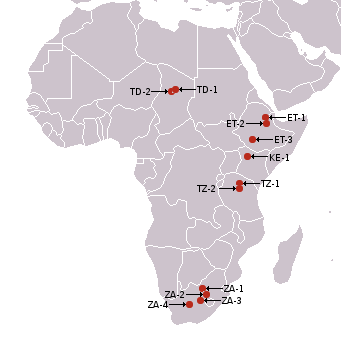Africa, australopitecines discovery sites