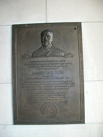 James Wilson (Secretary of Agriculture) - Plaque to Wilson inside the USDA Building, where a pedestrian arch is named for him
