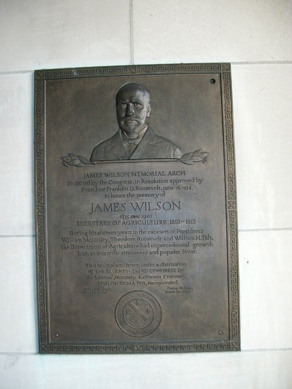 Agriculture South Building - Wilson plaque