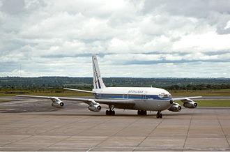 Air Rhodesia - An Air Rhodesia Boeing 720 at Salisbury Airport in 1977.