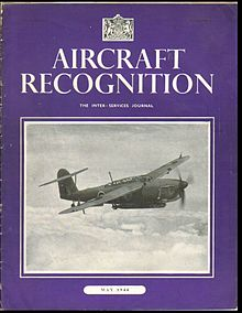 Cover of the issue for May 1944 (Volume II Number 9). The cover has an indigo background and in white test the title Aircraft Recognition and the date May 1944. The bulk of the cover is taken up by a photograph of a Fairey Barracuda aircraft.