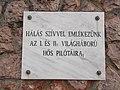 Airplane monument, World War I and II plaque, 2018 Mátyásföld.jpg