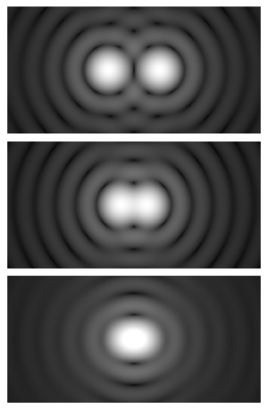 Angular resolution - Airy diffraction patterns generated by light from two points passing through a circular aperture, such as the pupil of the eye. Points far apart (top) or meeting the Rayleigh criterion (middle) can be distinguished. Points closer than the Rayleigh criterion (bottom) are difficult to distinguish.