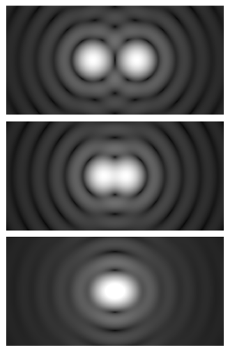Angular resolution - Airy diffraction patterns generated by light from two point sources passing through a circular aperture, such as the pupil of the eye. Points far apart (top) or meeting the Rayleigh criterion (middle) can be distinguished. Points closer than the Rayleigh criterion (bottom) are difficult to distinguish.