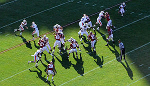 2012 Alabama Crimson Tide football team - The Alabama defense in motion against the Tigers' offense