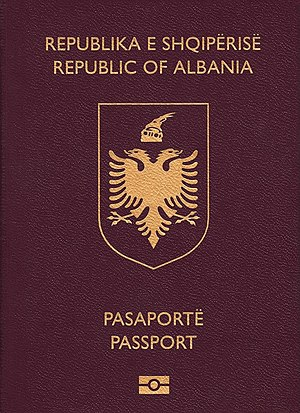 Passports issued by the European Union candidate states - Image: Albanian biometric passport (crop)