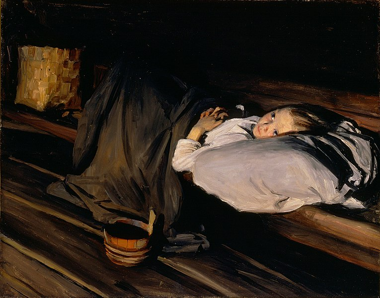 Albert Gebhard - Orphan: Painting of a child laying lone in a makeshift bed.