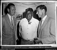 Albert Namatjira with Jack Kramer and Frank Sedgman.jpeg