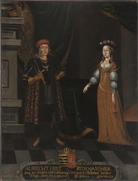 File:Albrekt, 1443-1500, hertig av Sachsen, Zedena, 1449-1510, prinsessa av Böhmen - Nationalmuseum - 15271.tif