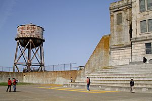 Recreation Yard (Alcatraz) - View of the water tower from the yard
