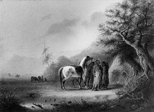 Rocky Mountain Rendezvous - Alfred Jacob Miller - Sioux Indians in the Mountains - Miller en route to a Rocky Mountain Rendezvous In the spring of 1837, Captain William Drummond Stewart hired the Baltimorean Alfred Jacob Miller to accompany and record an expedition to the annual fur traders' rendezvous held in the foothills of the Rocky Mountains in what is now Wyoming.