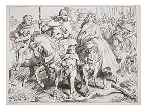 Hereward the Wake - Hereward escorts Alftruda, illustration by Henry Courtney Selous