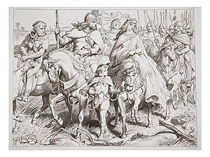 Hereward the Wake - Hereward escorts Alftruda, illustration by Henry Courtney Selous