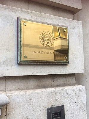 Embassy of Algeria, London - Image: Algerian Embassy in London Plaque 1