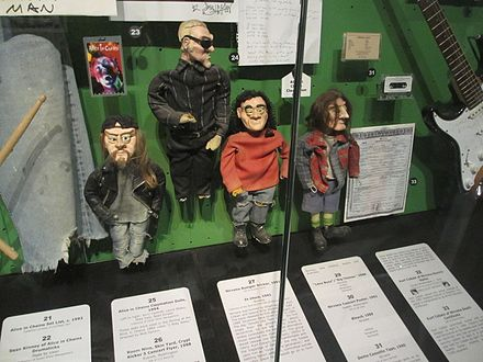 Alice in Chains' claymation dolls on display at the Rock and Roll Hall of Fame museum. Alice in Chains dolls.jpg