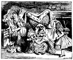 'There's certainly too much pepper in that soup!' Alice said to herself, as well as she could for sneezing. — Alice in Wonderland (1865). Chapter VI: Pig and Pepper. Note the cook's pepper mill.
