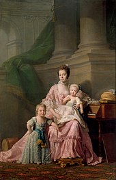 George (left) with his mother Queen Charlotte and younger brother Frederick. Portrait by Allan Ramsay, 1764 (Source: Wikimedia)